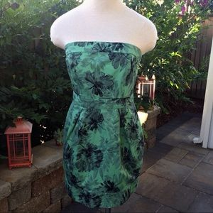 Green Floral American Rag Strapless Dress